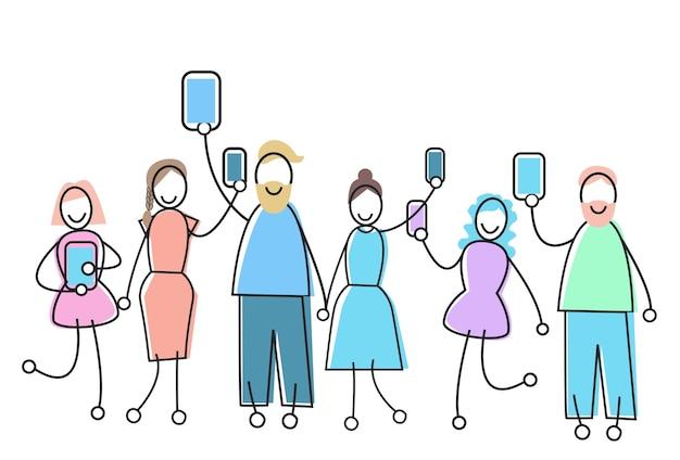 La gente raggruppa con il concetto di comunicazione della rete sociale dell'aggeggio