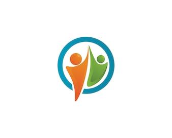 La gente si preoccupa delle icone del modello di logo di vita di salute di successo