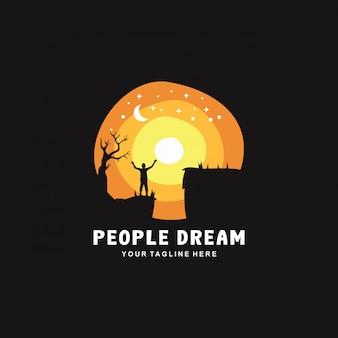 La gente sogna nel logo notturno