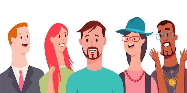 La gente sorridente vector il personaggio dei cartoni animati isolato su fondo bianco.