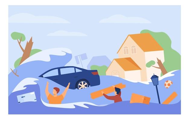 La gente spaventosa che annega nell'illustrazione piana di vettore isolata acqua. cartoon case sommerse, auto annegata durante l'alluvione o lo tsunami.