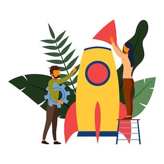 La gente sta costruendo un'illustrazione di razzo spaziale