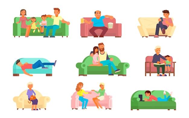 La gente sull'illustrazione piana di stile del sofà