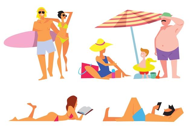 La gente sull'insieme isolato spiaggia