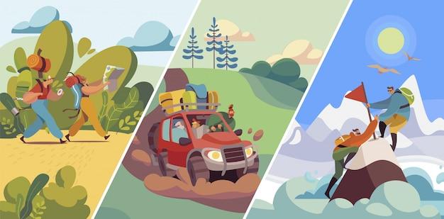 La gente viaggia verso natura, escursioni e alpinismo, viaggio in auto o trekking con zaini, illustrazione
