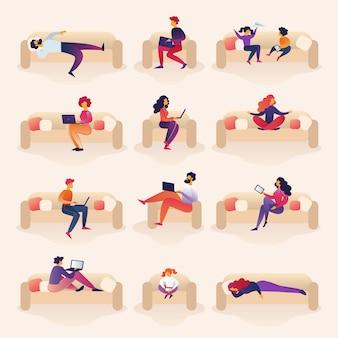 La gente vive e lavora su sofa cartoon illustration.