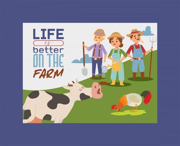 La gente vive e lavora sull'illustrazione dell'insegna dell'azienda agricola.