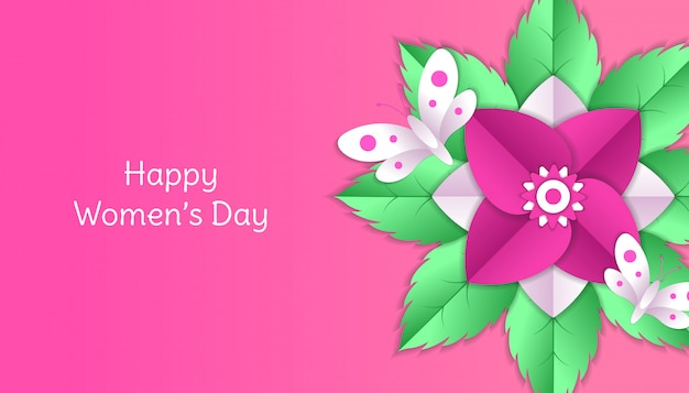 La giornata della donna felice con il fiore, la foglia, la carta della farfalla ha tagliato la decorazione floreale 3d nel colore rosa e bianco