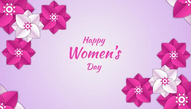 La giornata della donna felice con la carta del fiore ha tagliato la decorazione floreale 3d nel colore rosa e bianco