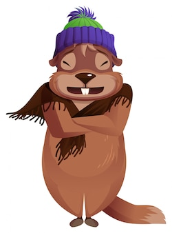 La giornata della marmotta è fredda. previsioni meteorologiche invernali congelate della marmotta