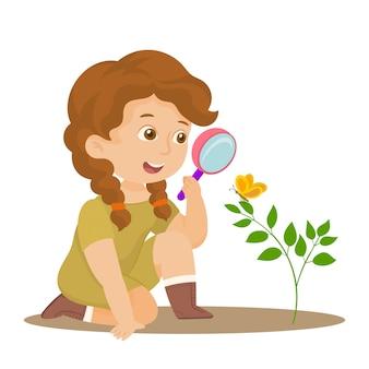 La giovane donna alla spedizione indaga sulla natura