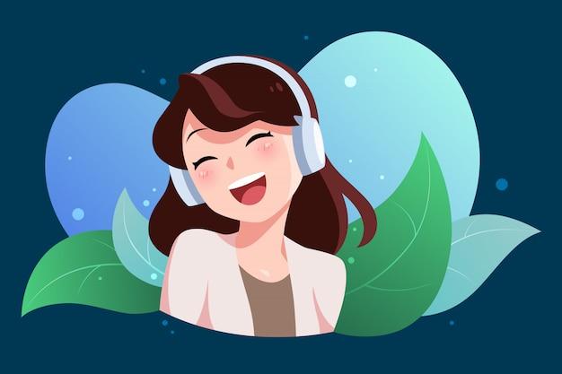 La giovane donna ascolta musica con la cuffia e si sente gioioso, piatto personaggio dei cartoni animati, foglia sfondo astratto.
