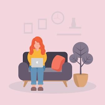 La giovane donna che lavora al computer portatile, lavora dall'illustrazione domestica