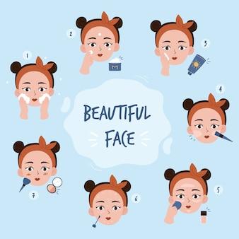La giovane donna compone con varie azioni impostate, viso, trattamento, bellezza, cosmetici, trucco, stile di vita sano