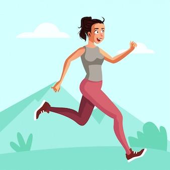La giovane donna corre al mattino per bruciare il grasso