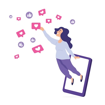 La giovane donna diventa cacciatrice di notifiche, la giovane donna cerca di raggiungere l'icona di notifica diffusa