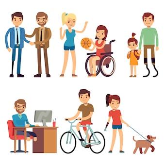 La giovane donna e l'uomo disabile dentro nelle attività di routine del giorno vector i caratteri del fumetto messi. giovane disabile, illustrazione di situazione umana di disabilità