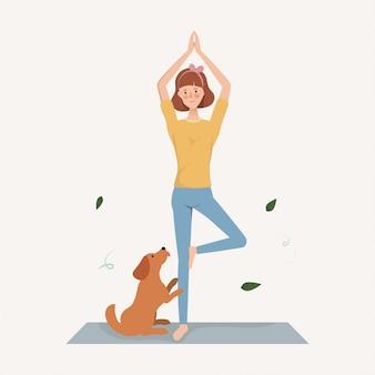 La giovane donna fa gli esercizi di yoga con un cane in vacanza. stile di vita del personaggio disegnato a mano.