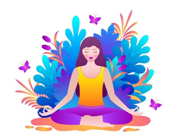 La giovane donna medita
