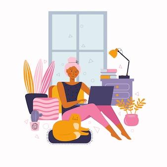 La giovane donna trascorre del tempo a casa su internet. tempo libero su internet. intrattenimento online, formazione, visione di film, chat, lavoro online.