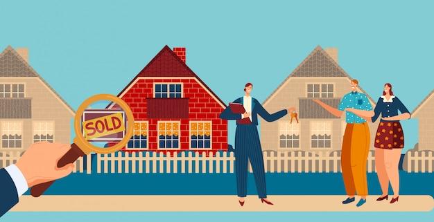 La giovane famiglia compra la casa, il maschio delle coppie del chacarter, la casa femminile dell'acquisto, illustrazione. mano che tiene la lente d'ingrandimento, segno di vendita.