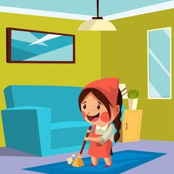 La giovane madre sta pulendo la sua casa durante il soggiorno a casa sulla pandemia