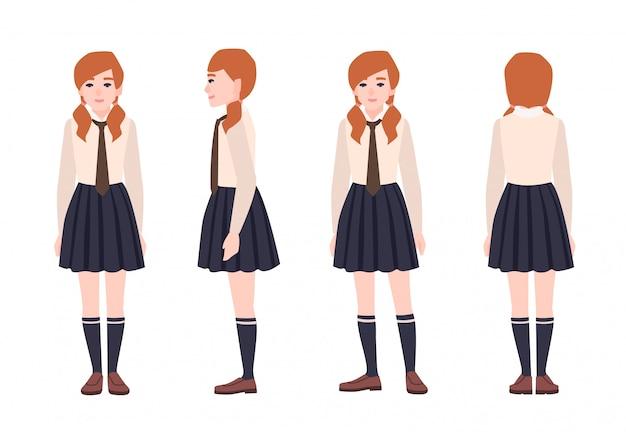 La giovane ragazza di redhead si è vestita in uniforme scolastico. studentessa o allievo che indossa abiti formali. personaggio dei cartoni animati piatto isolato su sfondo bianco. vista frontale, laterale e posteriore. illustrazione