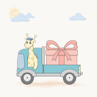 La giraffa guida un'auto con il grande regalo del fumetto disegnato a mano