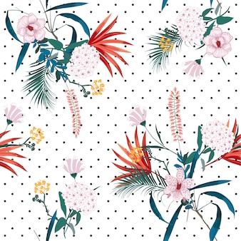 La giungla tropicale e i fiori in fiore si mescolano