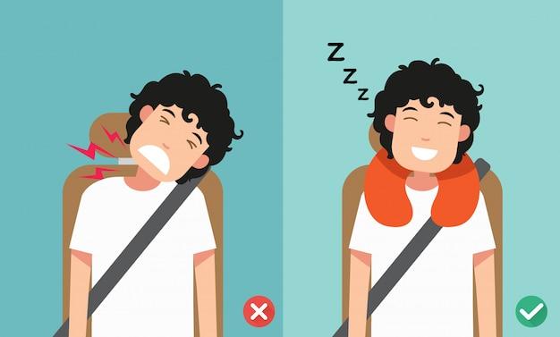 La giusta postura per dormire stando seduti in posizione eretta.