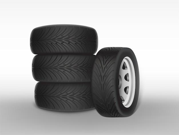 La gomma nera realistica 3d ha impilato in mucchio, acciaio brillante e ruota di gomma per l'automobile, automobile
