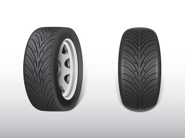 La gomma nera realistica 3d, l'acciaio brillante e la ruota di gomma per l'automobile, automobile.