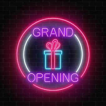 La grande apertura al neon del nuovo negozio con la lotteria e il regalo firmano dentro le forme del cerchio su un muro di mattoni
