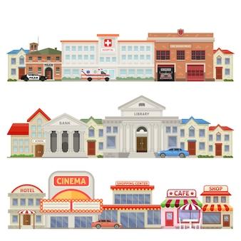La grande città tre skylines colorati con le case commerciali del centro storico ed educativo di servizi della città ha isolato l'illustrazione di vettore