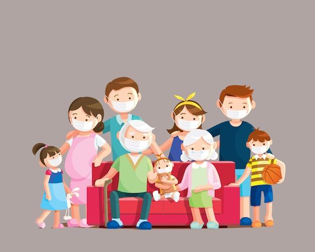 La grande famiglia indossa maschere per prevenire covid-19.