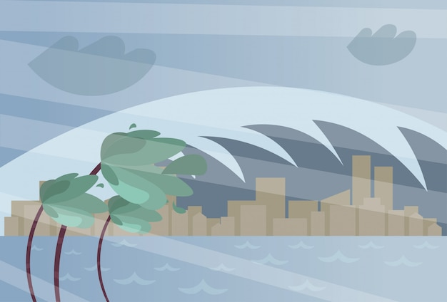 La grande onda dell'onda della tempesta sull'uragano o sul ciclone della città sul litorale di mare dell'oceano distrugge il concetto naturale di disastro della città