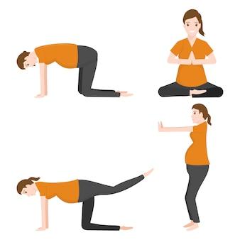 La gravidanza allunga l'allenamento yoga dell'icona