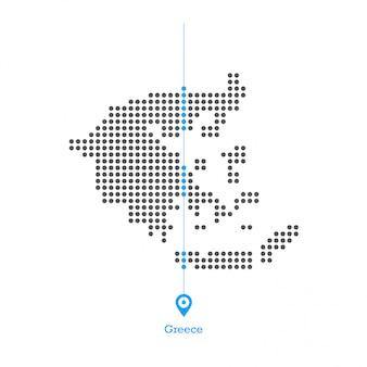 La grecia ha punteggiato il vettore desgin della mappa