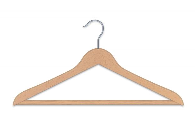 La gruccia per vestiti di legno realistica ha isolato l'illustrazione di vettore