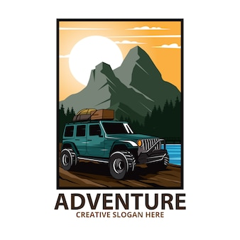 La jeep va sulla montagna