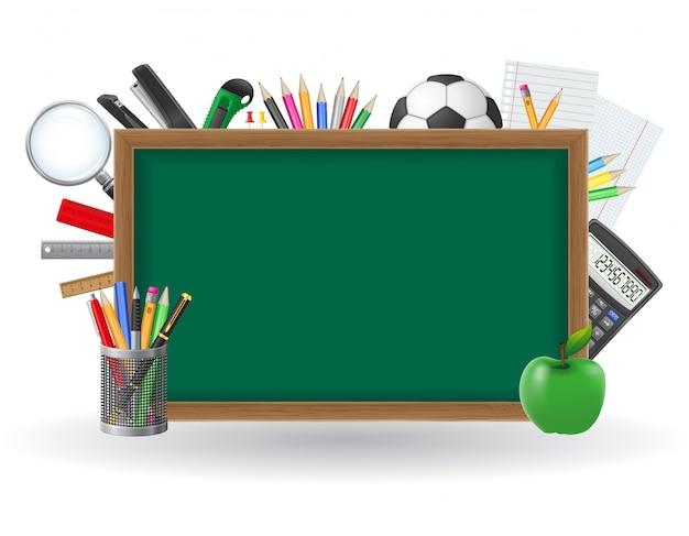 La lavagna verde con gli elementi della scuola e del copyspace vector l'illustrazione