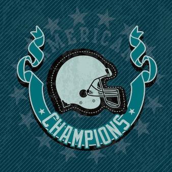 La lega dei campioni del casco di football americano su fondo blu
