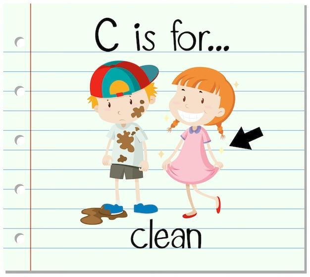 La lettera c di flashcard è per pulito