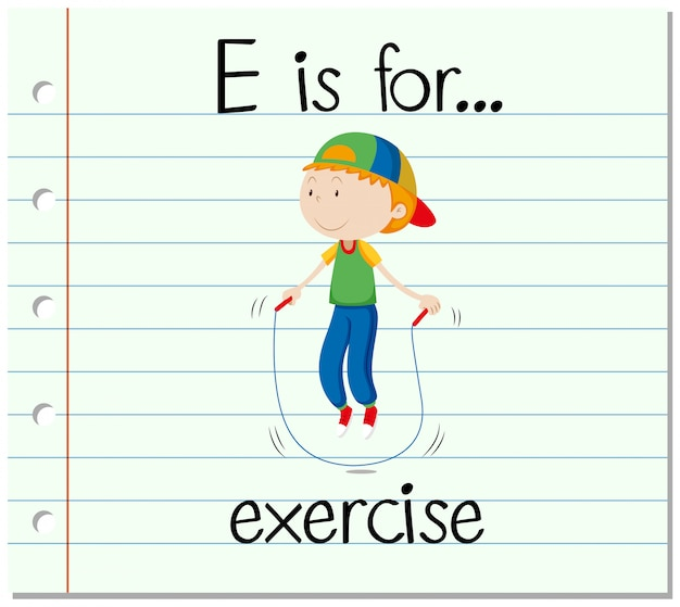 La lettera e della flashcard è per l'esercizio