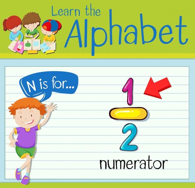La lettera flashcard n è per il numeratore