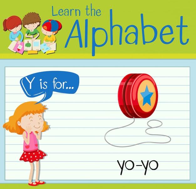 La lettera flashcard y è per yo-yo