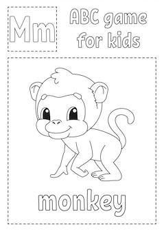 La lettera m sta per scimmia. gioco abc per bambini. pagina da colorare di alfabeto.