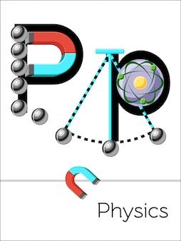 La lettera p di flash card è per la fisica. alfabeto della scienza per bambini.