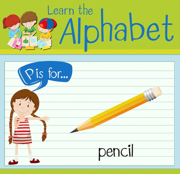 La lettera p di flashcard è per la matita