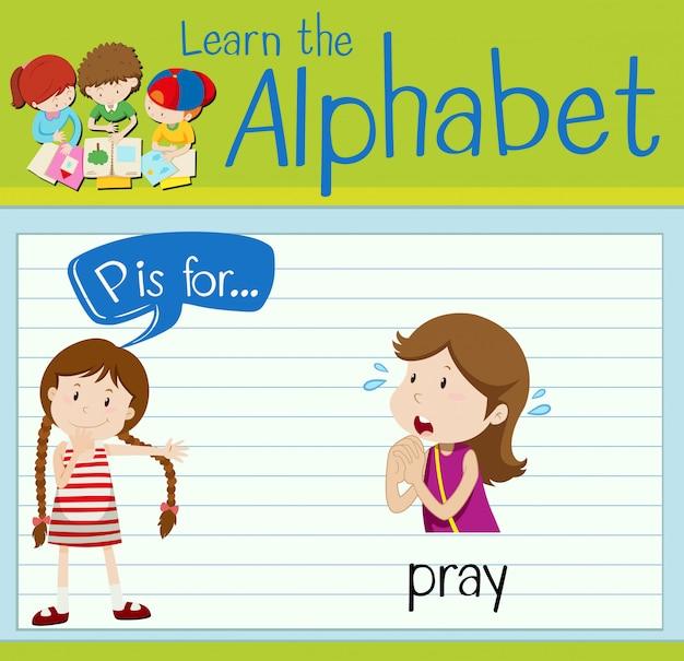 La lettera p di flashcard è per pregare
